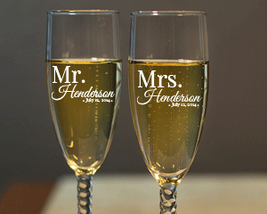 Personalized Mr. and Mrs. Engraved Champagne Flute Set with Twisted Stem cheap favors