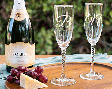 Personalized Engraved Monogram Champagne Flute with Twisted Stem cheap favors