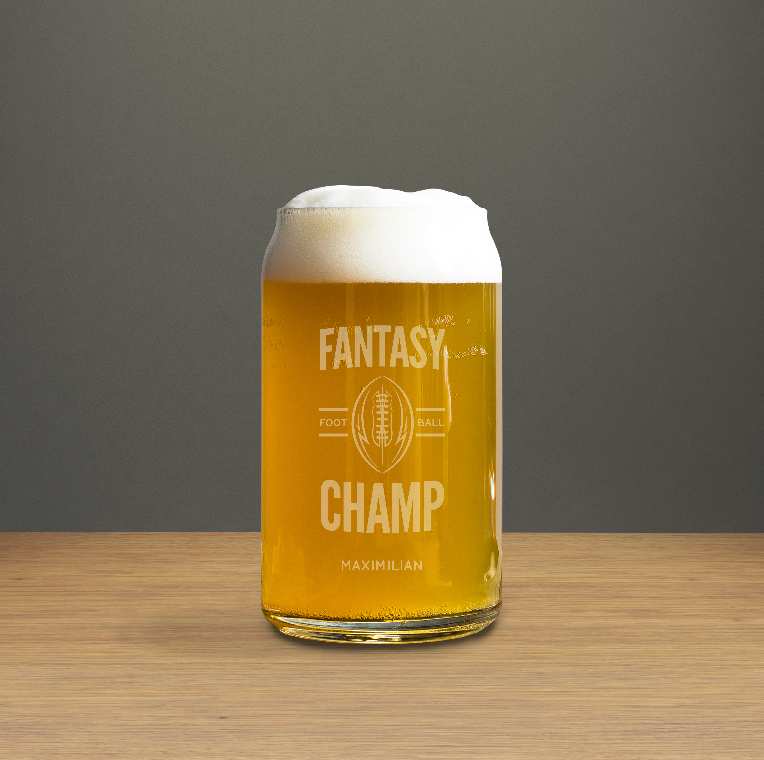 Fantasy Football Champ Engraved Beer Can Glass wedding favors