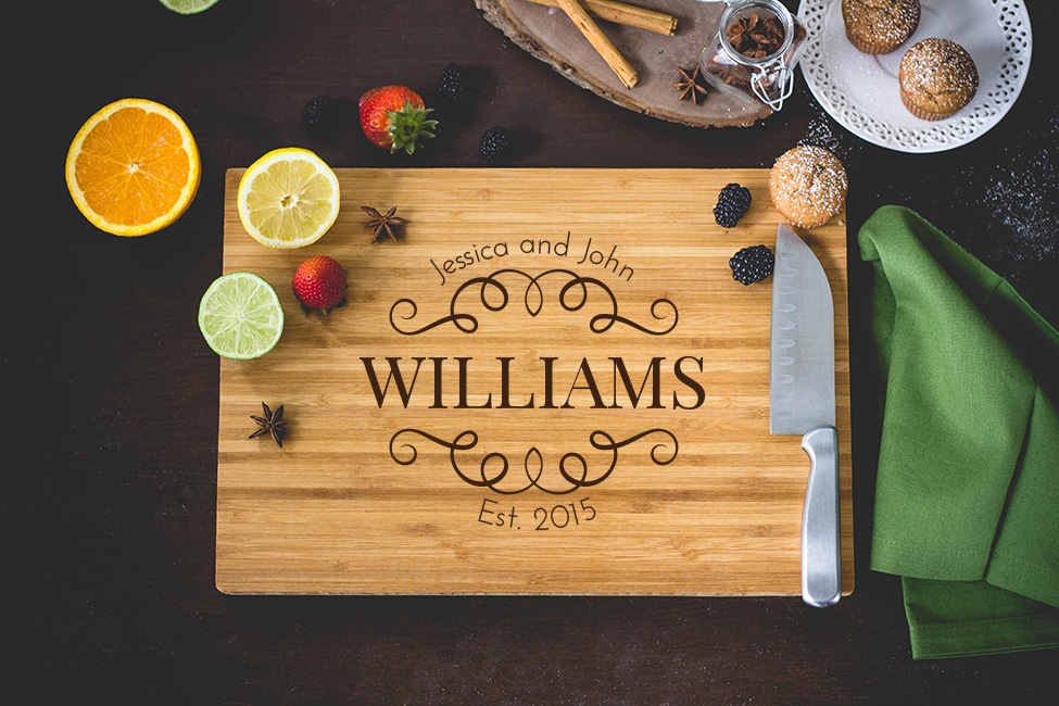 Personalized Cutting Board - Laser Engraved Family Name wedding favors