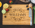 Personalized Cutting Board - Laser Engraved Family Name cheap favors