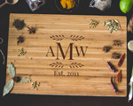 Personalized Cutting Board - Leaf Monogram cheap favors