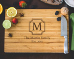 Personalized Cutting Board - Framed Monogram and Family Name cheap favors