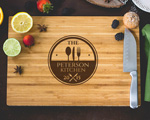 Personalized Cutting Board - Engraved Family Name Kitchen Theme cheap favors