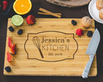 Personalized Cutting Board - Family Name and Whisk Engraved cheap favors