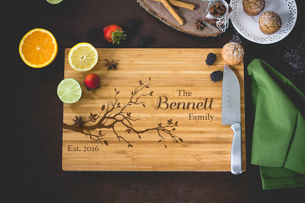 Personalized Cutting Board - Family Name and Tree Branch Engraved wedding favors