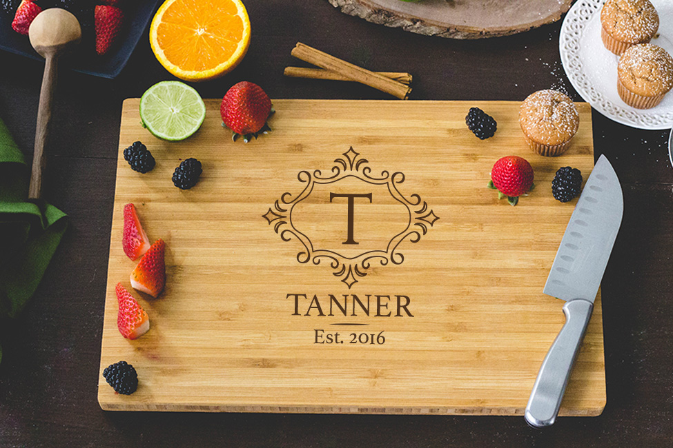 Personalized Cutting Board - Family Monogram Engraved wedding favors