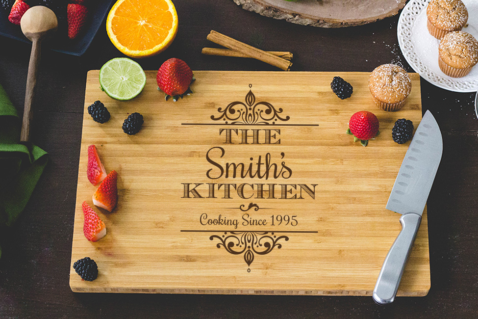 Personalized Cutting Board - Family Kitchen Engraved wedding favors