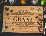Personalized Elegant Family Name Bamboo Cutting Board cheap favors