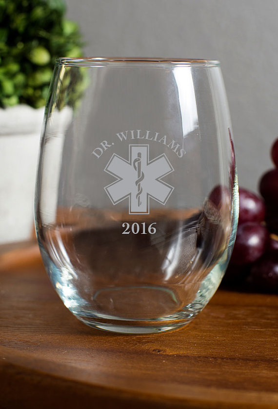 Star of Life 15 oz Stemless Wine Glass wedding favors