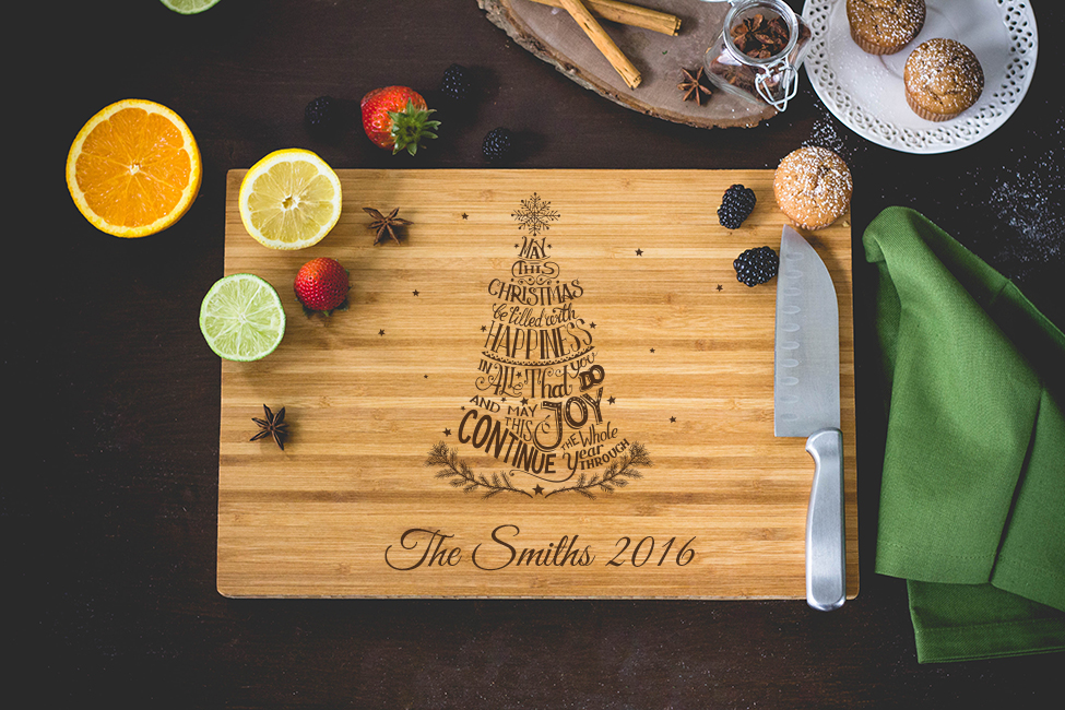 Personalized Family Christmas Tree Cutting Board wedding favors