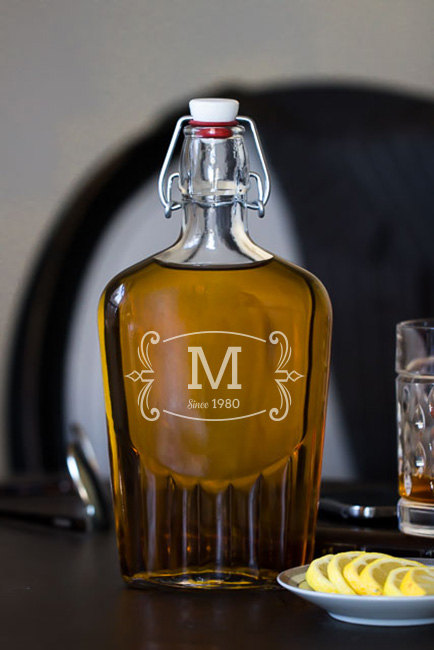 Vintage Monogram Glass Flask wedding favors