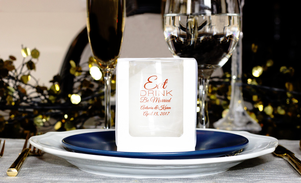 White Paper Gift Boxes for 9 ounce Stemless Glass cheap favors