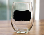 Fancy Rectangle Design Chalkboard 15 oz Wine Glasses cheap favors