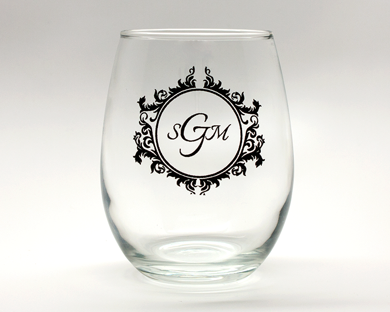Vintage Monogram Personalized Stemless Wine Glasses - 9 oz cheap favors