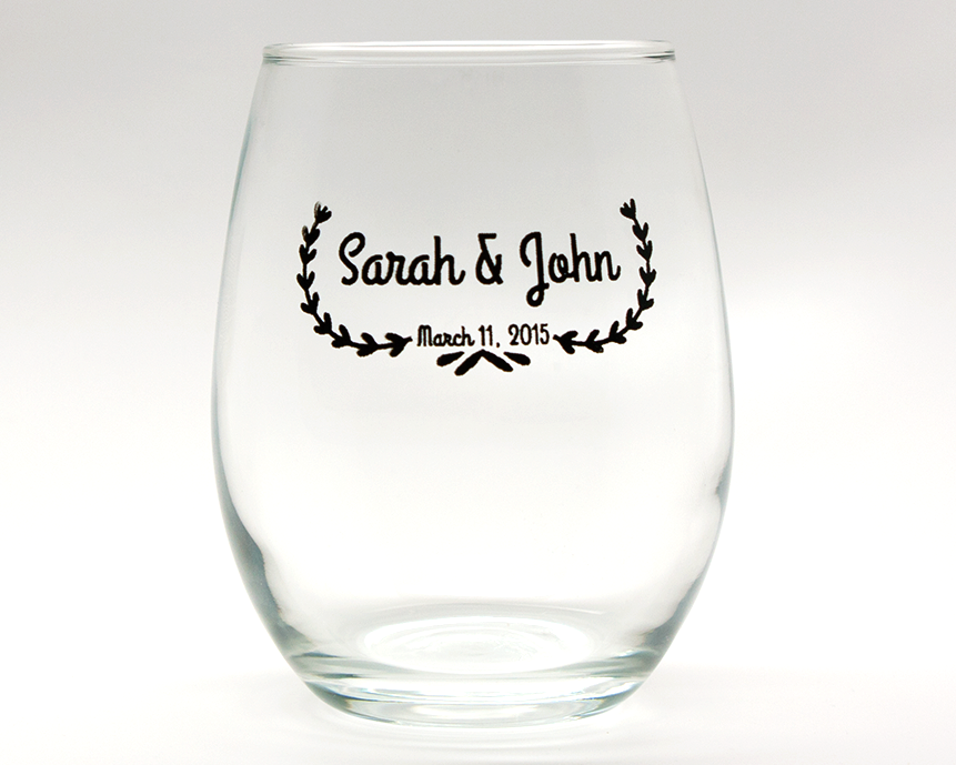 Leaf Banner Personalized Stemless Wine Glasses - 9 oz cheap favors