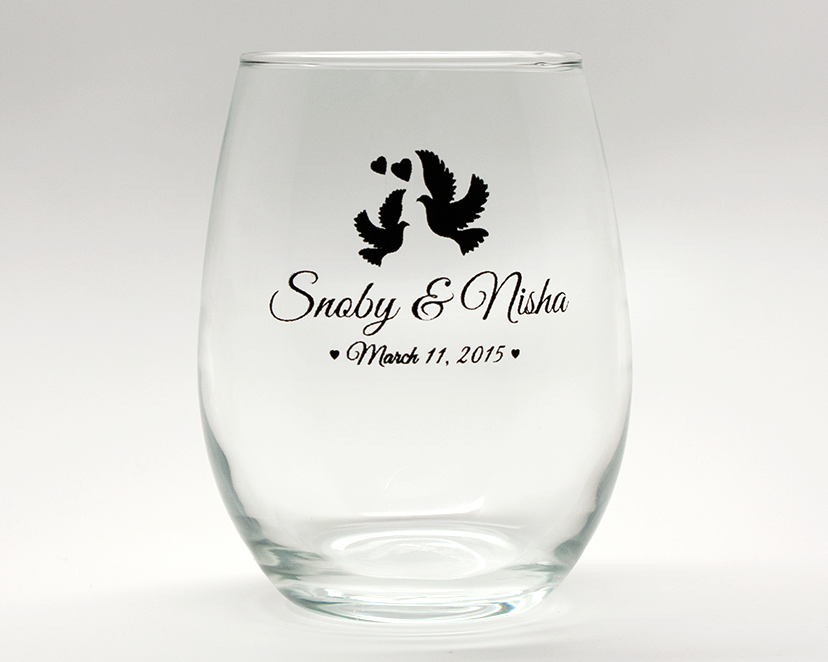 Doves Personalized Stemless Wine Glasses - 9 oz cheap favors