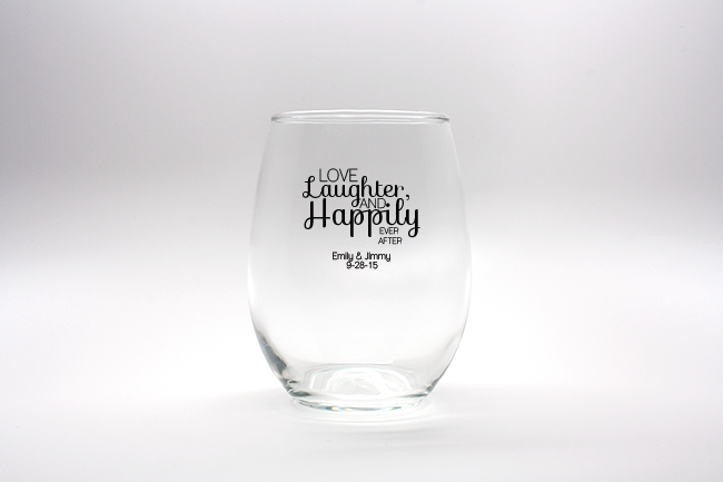 love laughter happily ever after personalized stemless wine