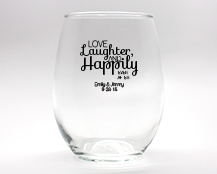 Love, Laughter, Happily Ever After Personalized Stemless Wine Glasses - 9 oz cheap favors