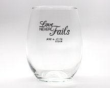 Love Never Fails Personalized Stemless Wine Glasses - 9 oz cheap favors