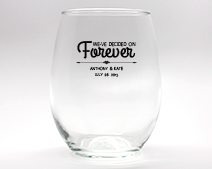 Forever Personalized Stemless Wine Glasses - 9 oz cheap favors