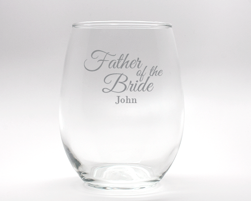 Engraved Father of the Bride Stemless Wine Glass - 15 oz cheap favors