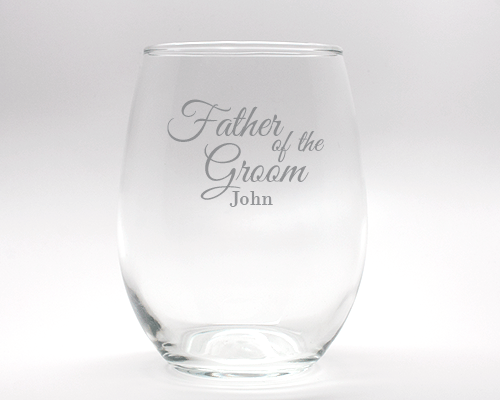 Engraved Father of the Groom Stemless Wine Glass - 15 oz cheap favors