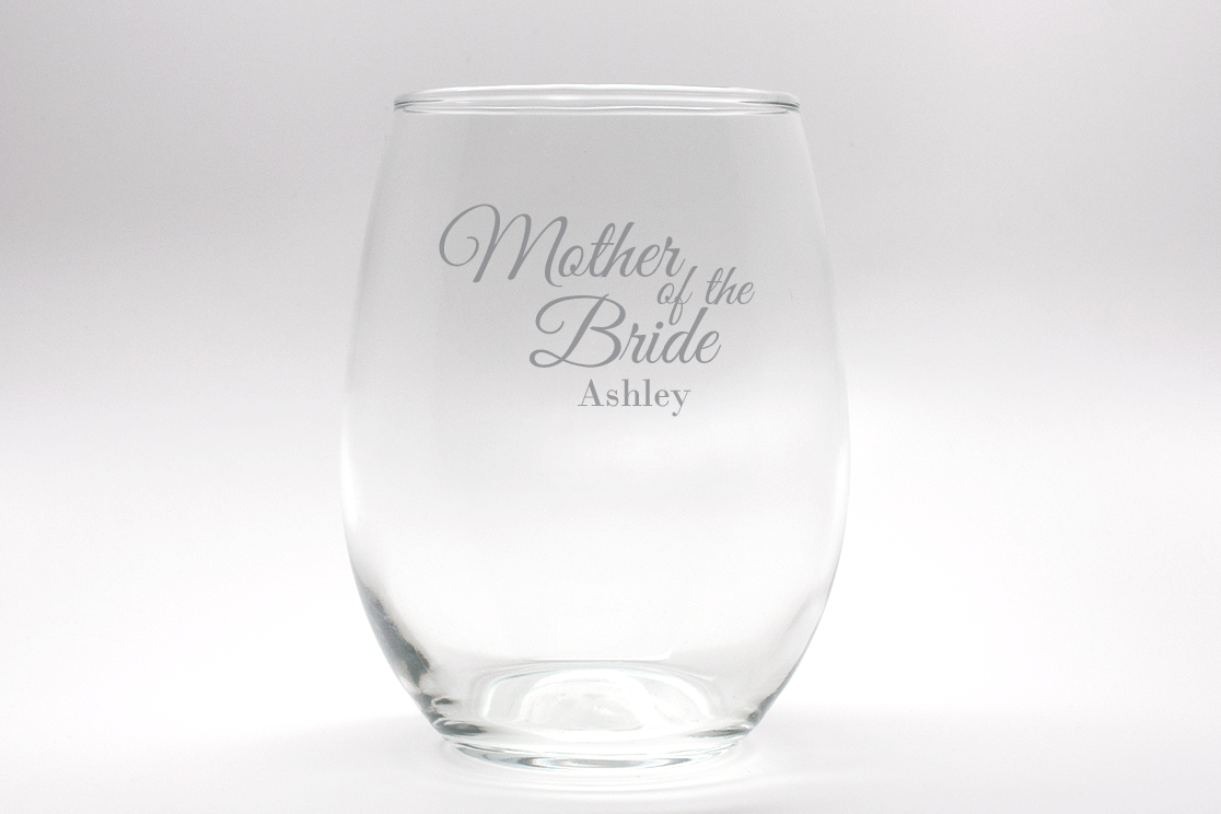 Engraved Mother of the Bride Stemless Wine Glass - 15 oz
