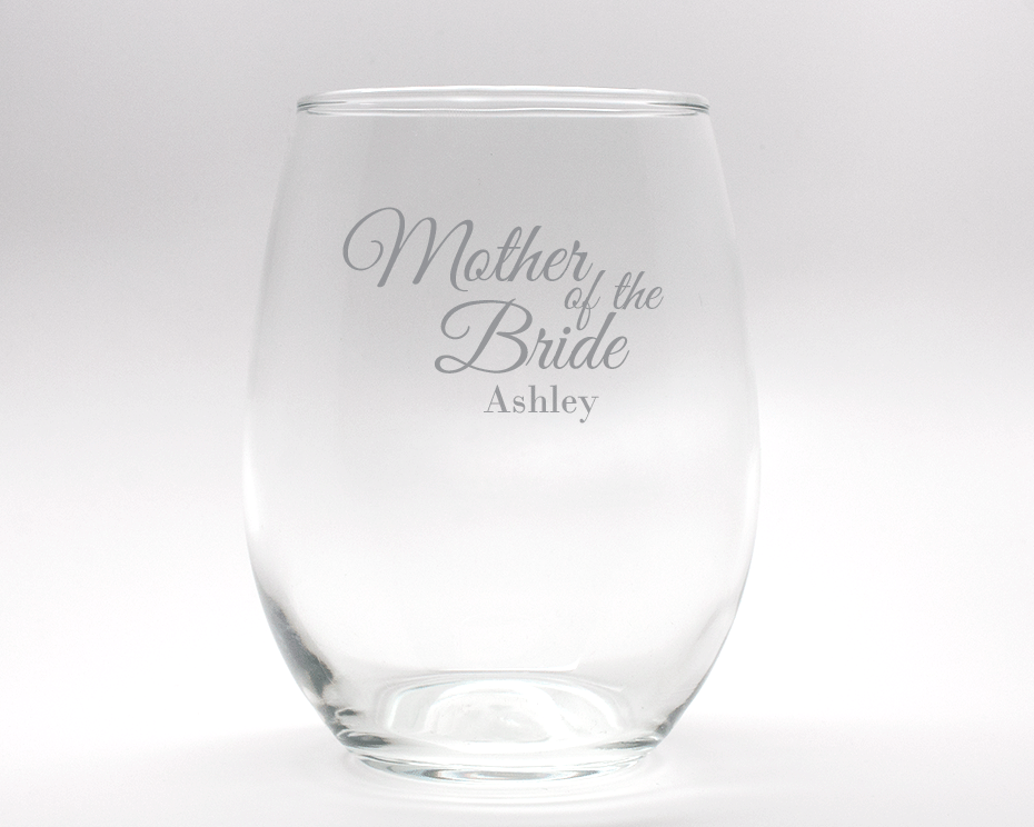 Engraved Mother of the Bride Stemless Wine Glass - 15 oz cheap favors