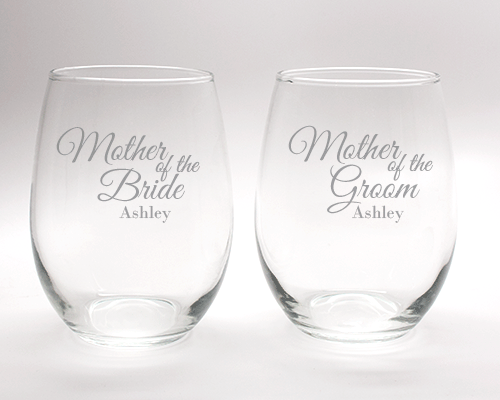 Engraved Mother of the Bride and Groom Stemless Wine Glass Set - 15 oz cheap favors