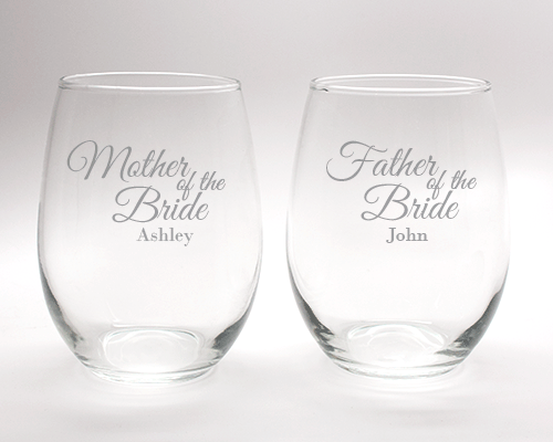 Engraved Mother and Father of the Bride Wine Glass Set - 15 oz cheap favors