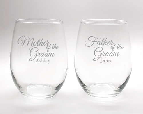 Engraved Mother and Father of the Groom Wine Glass Set - 15 oz cheap favors