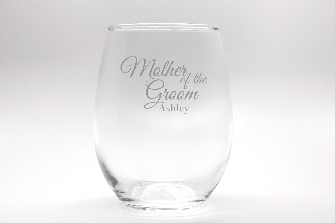 Engraved Mother Of The Groom Stemless Wine Glass 15 Oz