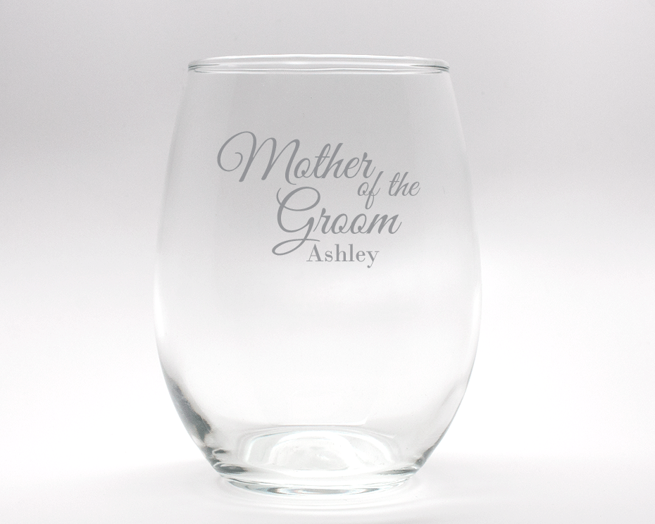 Engraved Mother of the Groom Stemless Wine Glass - 15 oz cheap favors