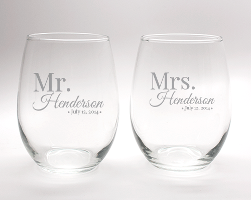 Engraved Mr. & Mrs. Stemless Wine Glass Set - 15 oz cheap favors