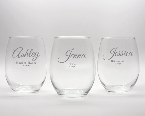 Engraved Bridal Party Wine Glass - 15 oz cheap favors