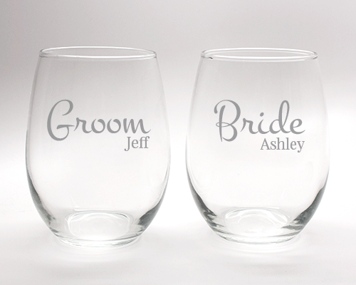 Engraved Bride and Groom Wine Glass Set - 15 oz cheap favors