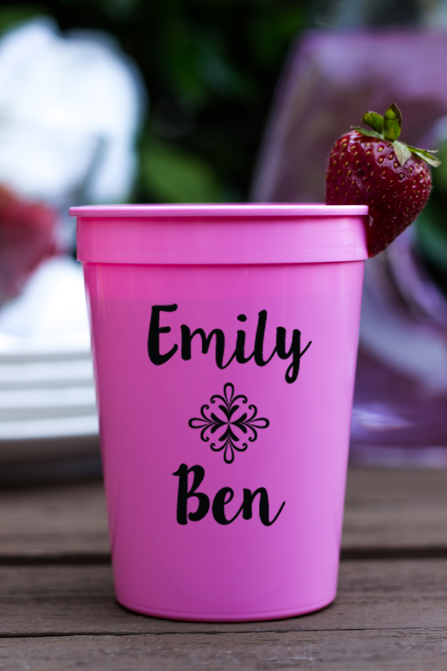 Personalized Plastic Stadium Cups- Names and Leaf Banner