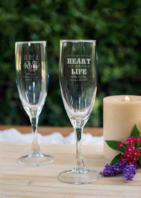 Engraved Champagne Flute Favor Wedding Favors